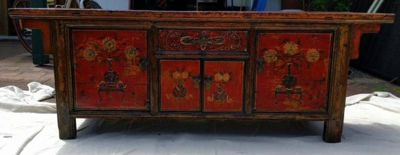 This is an incredible Chinese cabinet that can either be used as an entertainment unit, an entry hallway piece or a decoration piece The beautiful colours and ..., 1102677476