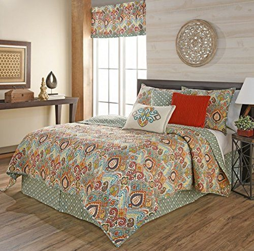 4 Piece Colorful Bohemian Inspired Design Quilt Set King ...