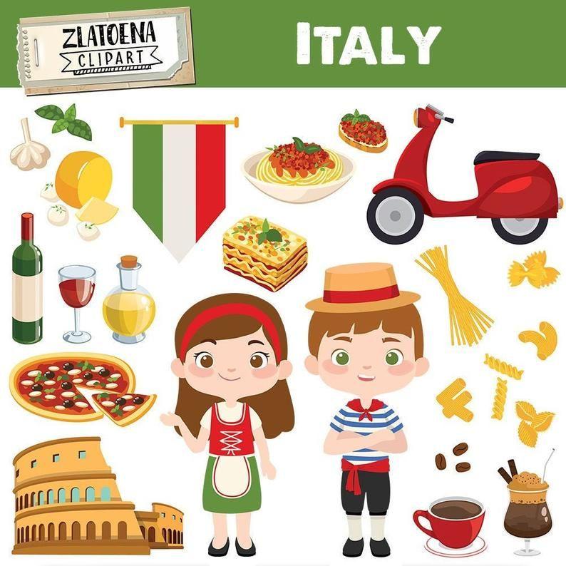 Italian Clip Art Italy Clipart Pizza Clipart Pasta Food Rome Colosseum Graphics Digital Italy Party Clip Art Travel Clipart Venice Carnival Clip Art Travel Clipart Italy For Kids