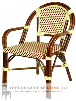 Aluminum Bamboo Cane Arm Chair French