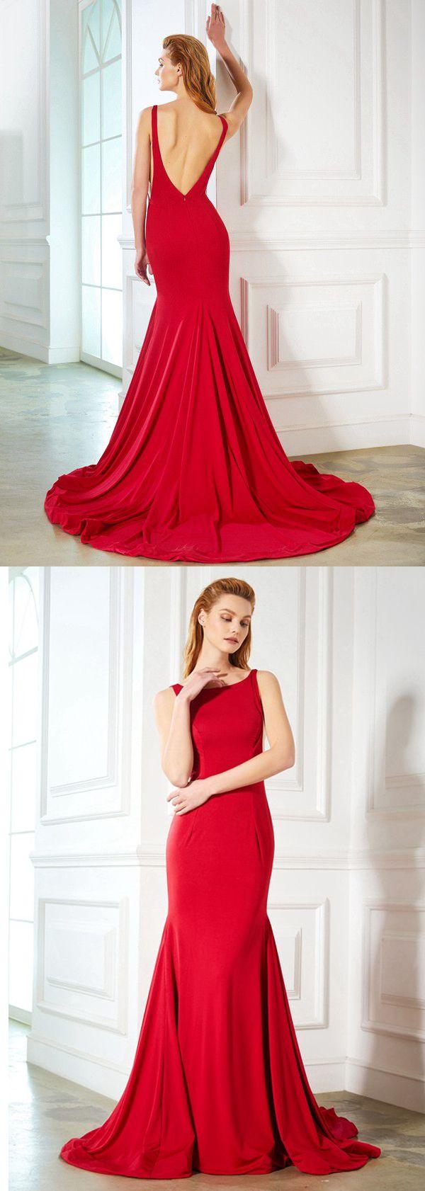 Elegant red backless chapel train cheap mermaid prom dresses evening