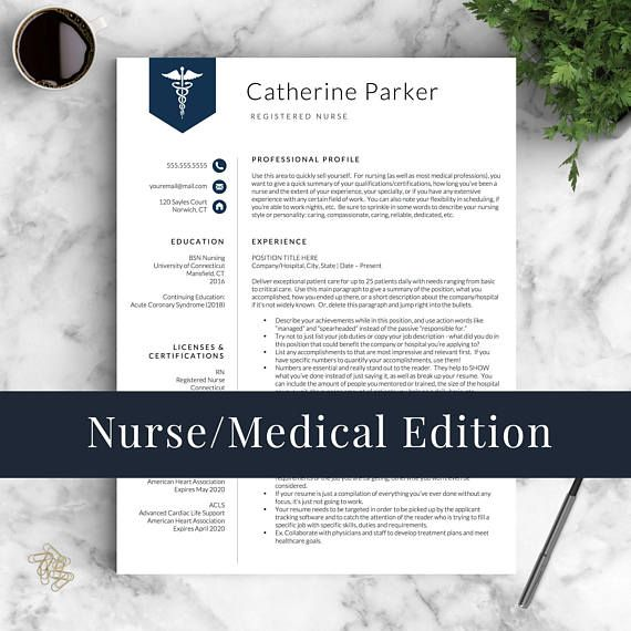 Doctor Resume Template for Word  Pages, Nurse Resume Template
