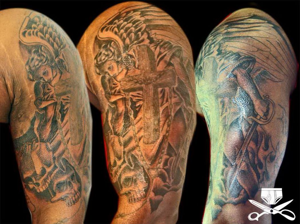 Angels And Demons Sleeve Tattoo Images For Tatouage