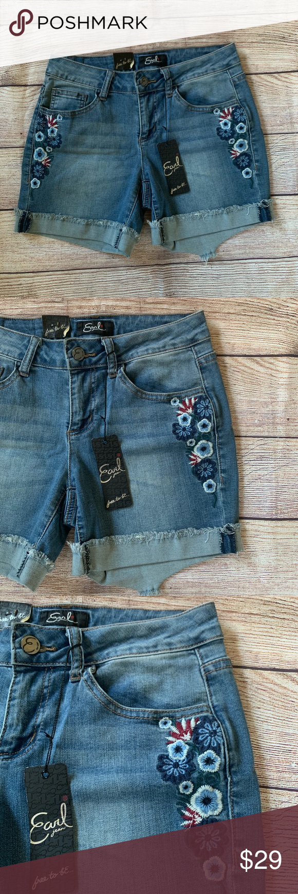 Embroidered Jean Shorts Hippie, hipster, feminine, floral, sweet are all words t…