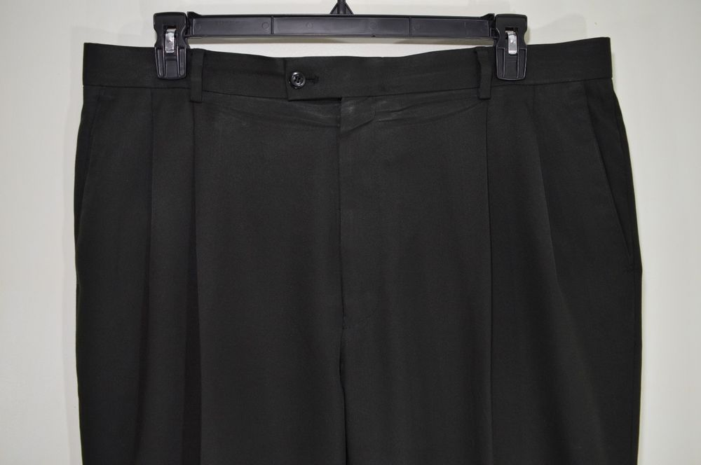MINT BRAGGI mens black dress pants slacks trouser pleated waist size 38 x 32   #Braggi #DressPleat