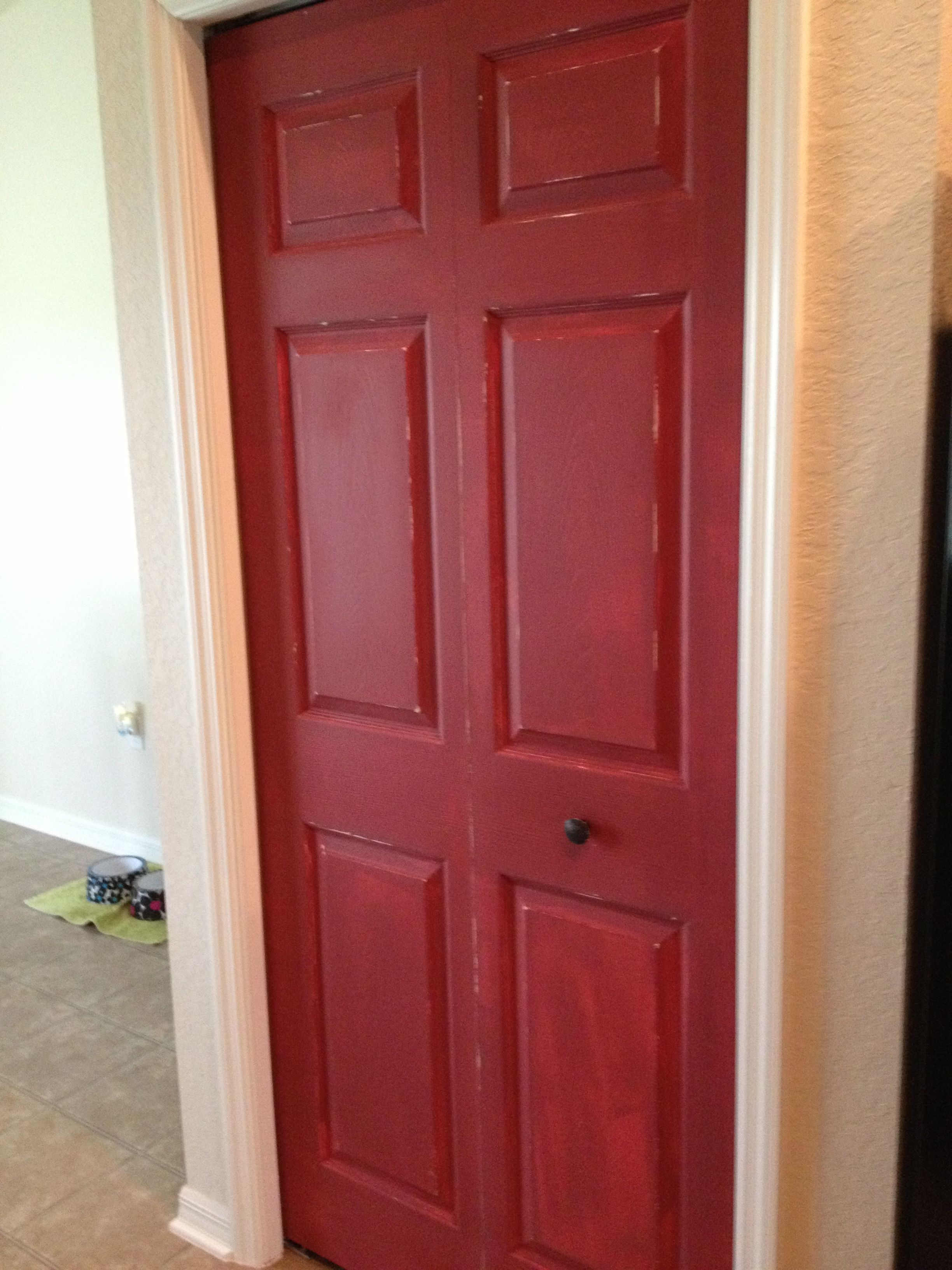 My new pantry door! Cabin wood red by Valsper then sanded with steel wool and 220 sand paper to give it an older look! Nice accent for my kitchen