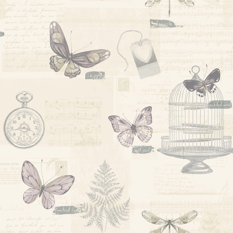 B q bathroom scales - K2 Marisela Heather Butterflies Wallpaper