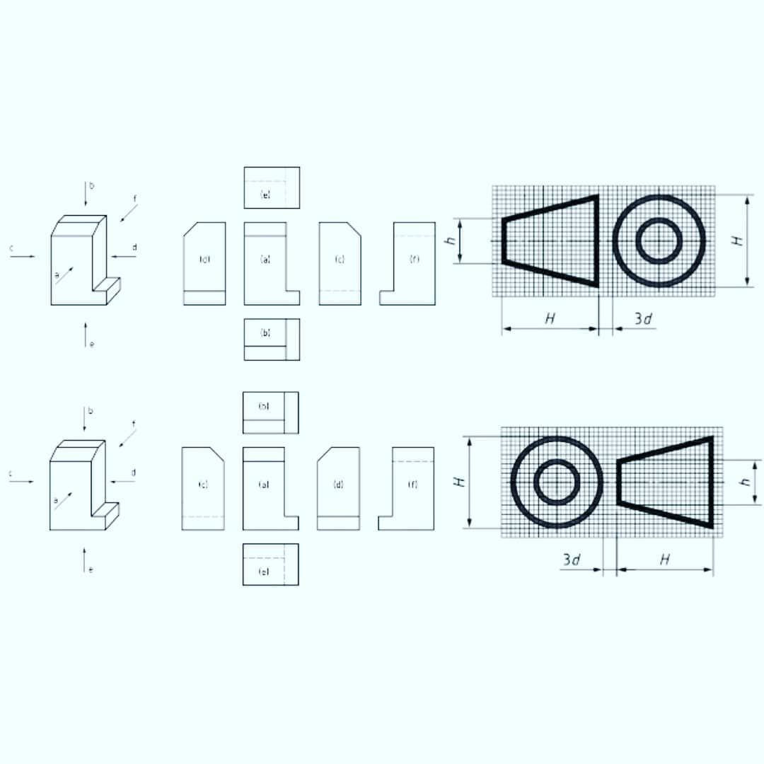 Engineering First Principles On Instagram In Technical Drawing View Projection Allows For A 2d Technical Drawing Autocad Isometric Drawing Isometric Drawing