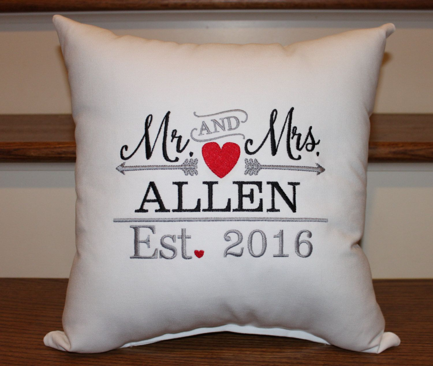 Mr. and Mrs. Pillow Established Pillow, Wedding Pillow, Wedding Gift ...