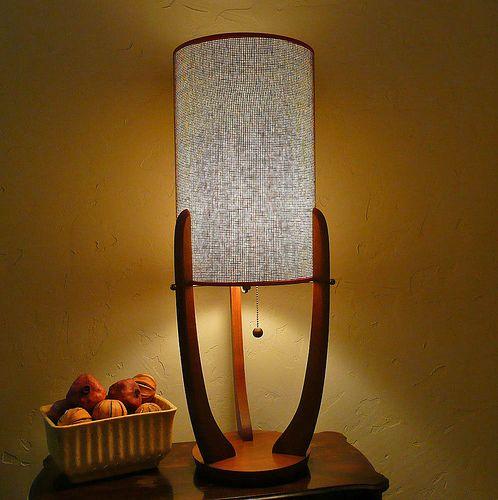 Mid Century Modern Teak Lamp With Grasscloth Shade Small Lamp Shades Antique Lamp Shades Creative Lamp Shades