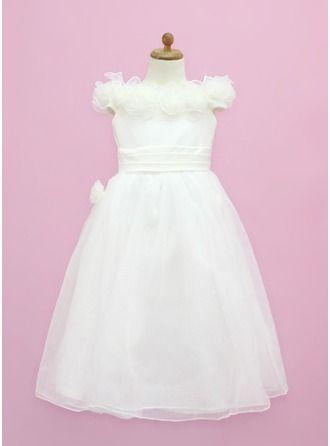 A-Line/Princess Floor-length Flower Girl Dress - Organza/Satin Sleeveless Off-the-Shoulder With Ruffles/Flower(s)/Bow(s)