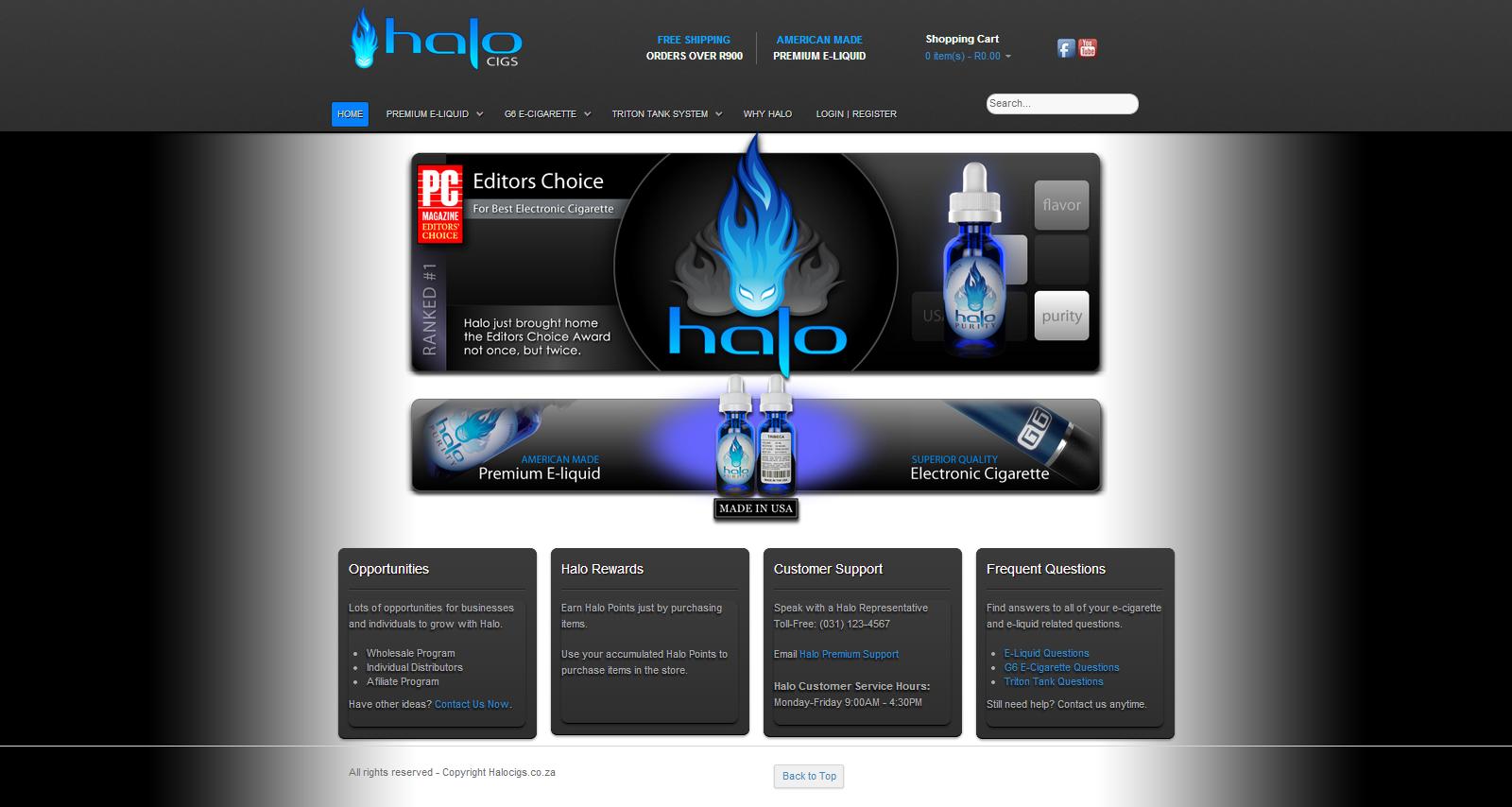 Halo Cigs E Commerce Development Www Halocigs Co Za Website Design Digital Agencies Online Marketing Services