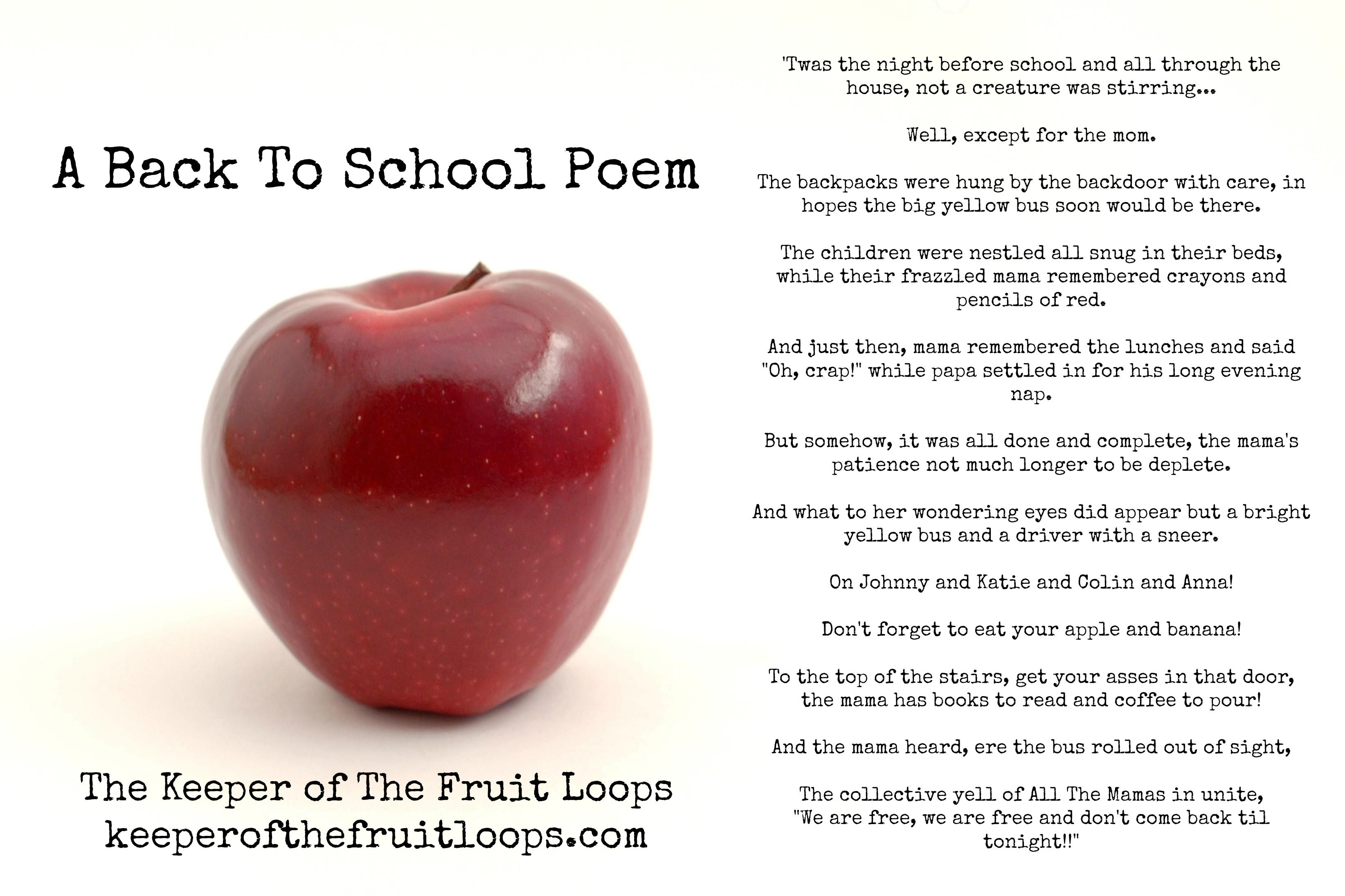 A Back To School Poem Set To Night Before Christmas Back To School Poem Poems About School Night Before School