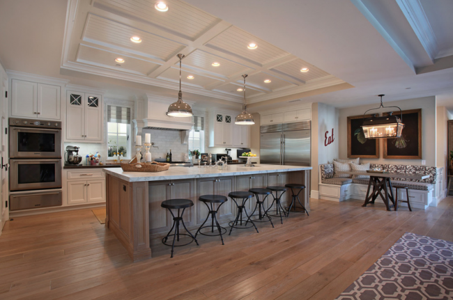 Island With Cabinet Access Behind Stools Also Love The Idea Of The Breakfast Nook Instead Of A