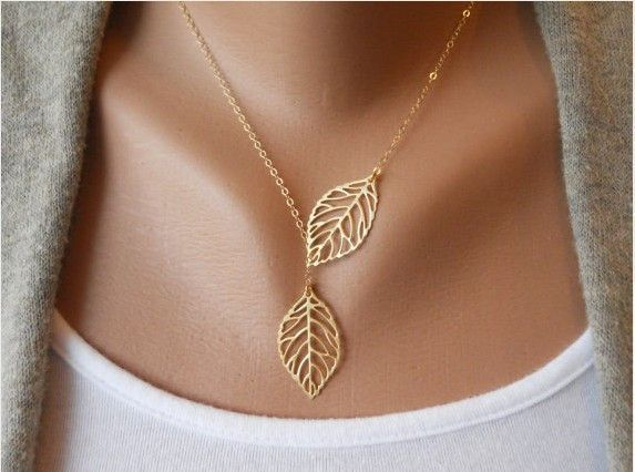 Two Leaf Pendants Necklace