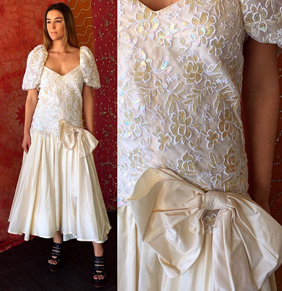 Vintage 80s Sequin Lace Dress NWT Floral Silk Wedding Party Evening ...