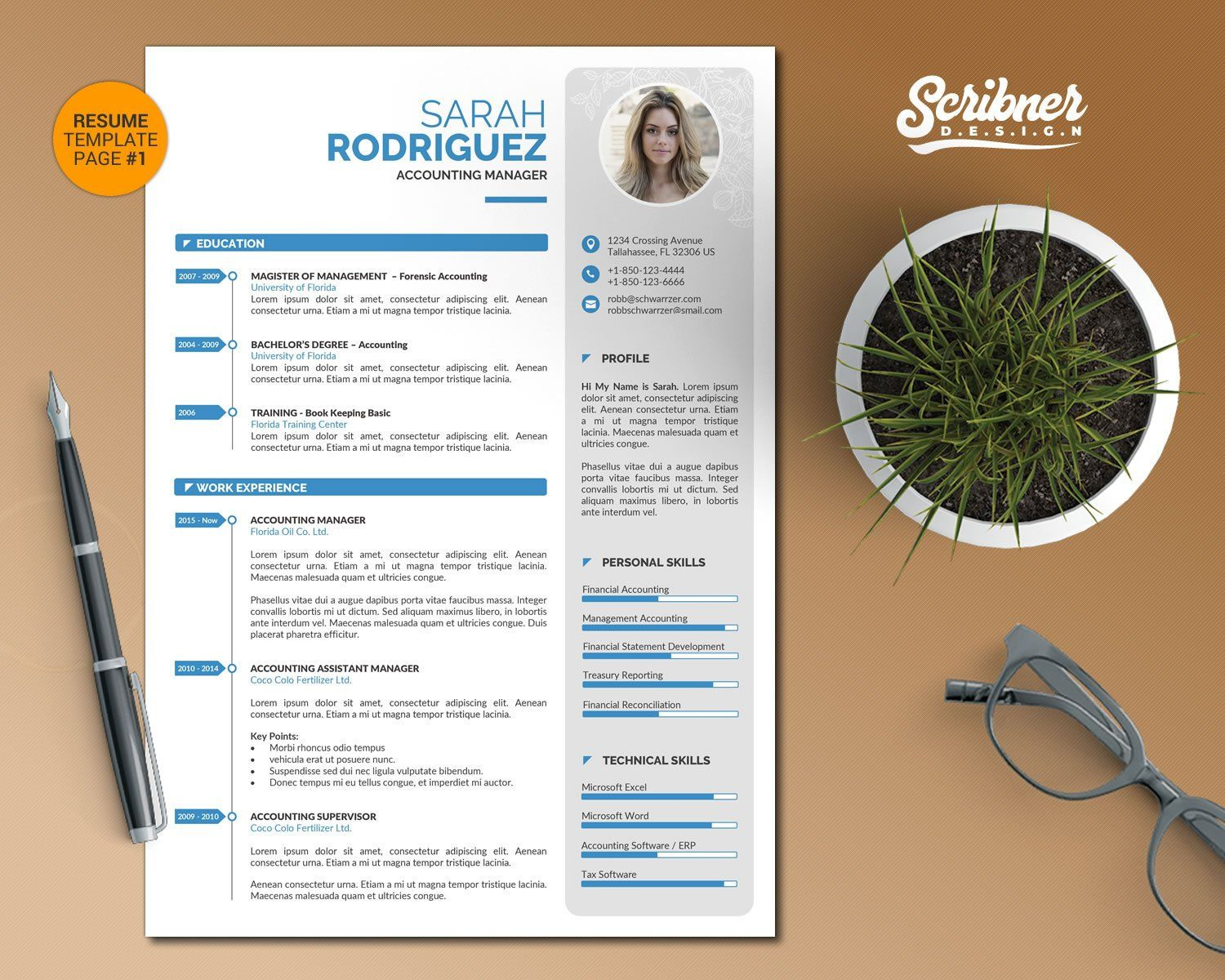 Creative word resume template cv template with cover