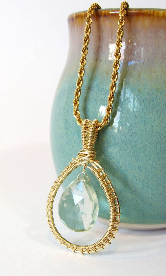 Green Amethyst Wire Wrapped Pendant, Gold Filled Wire Weave with ...