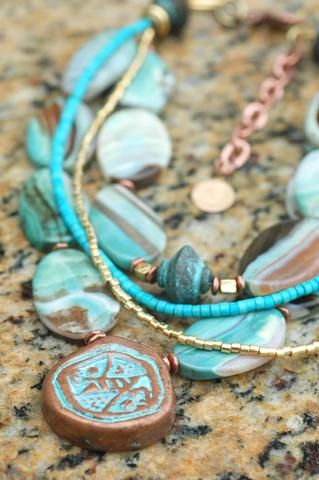 Capri Bracelet Turquoise, turquoise, turquoise! You can never have too much turquoise! This beautiful and versatile artisan bracelet is a wonderful combination