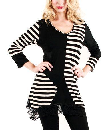 Black & White Stripe Hi-Low Tunic by Aster #zulily #zulilyfinds http://www.zulily.com/invite/kripley070