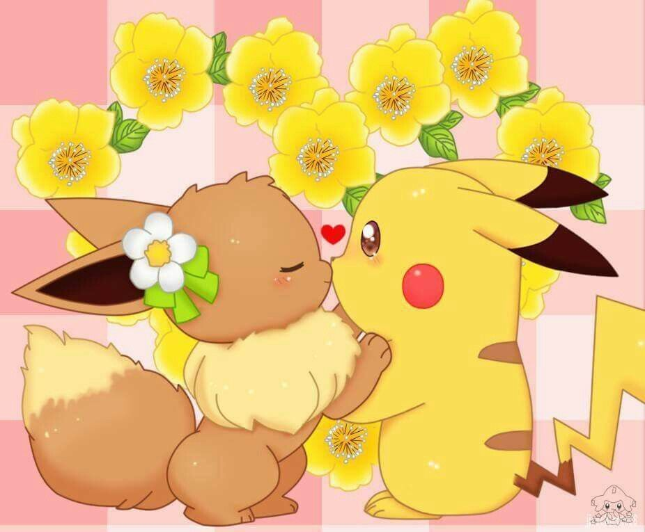Pikachu and Eevee ^.^ ♡ I give good credit to whoever made this