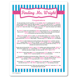 right and left gift passing game with a fun story about mr wright printable bridal shower game