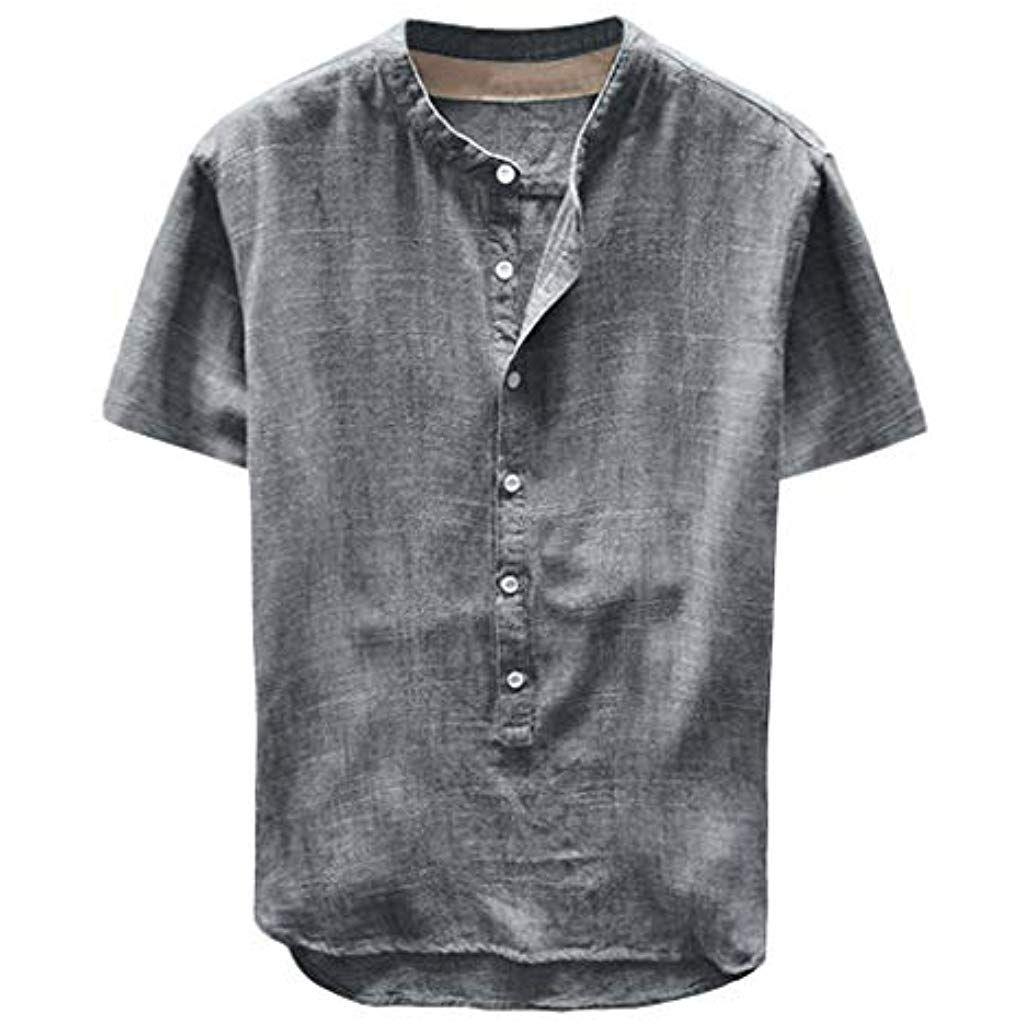 pretty nice 540a2 4871b Celucke Leinenhemd Herren Kurzarm Henley Shirt Männer ...