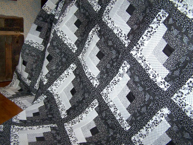 Pin By Alonna Mottern On Quilts Quilts Log Cabin Quilt Pattern Log Cabin Quilts Black and white quilts for sale