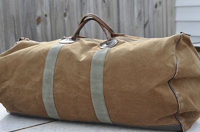 Vintage L Bean Usa Canvas Leather Duffle Duffel Bag Large Brown Green