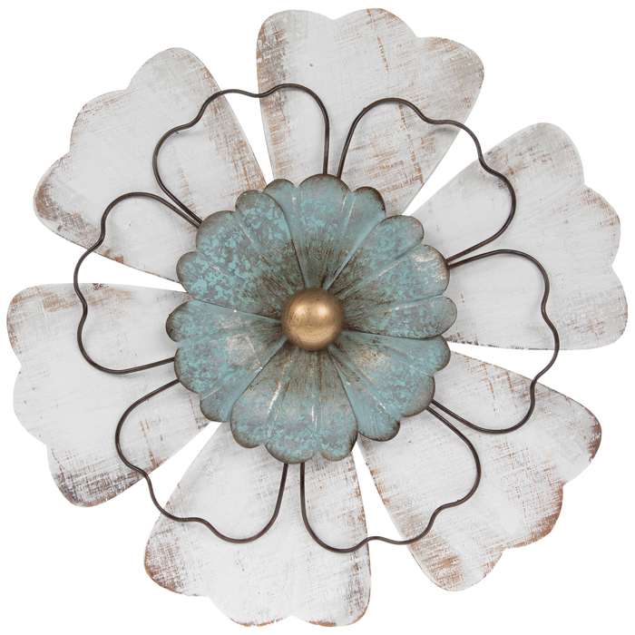 Distressed White Turquoise Flower Metal Wall Decor Metal Flower Wall Decor Metal Wall Decor Flower Wall Decor