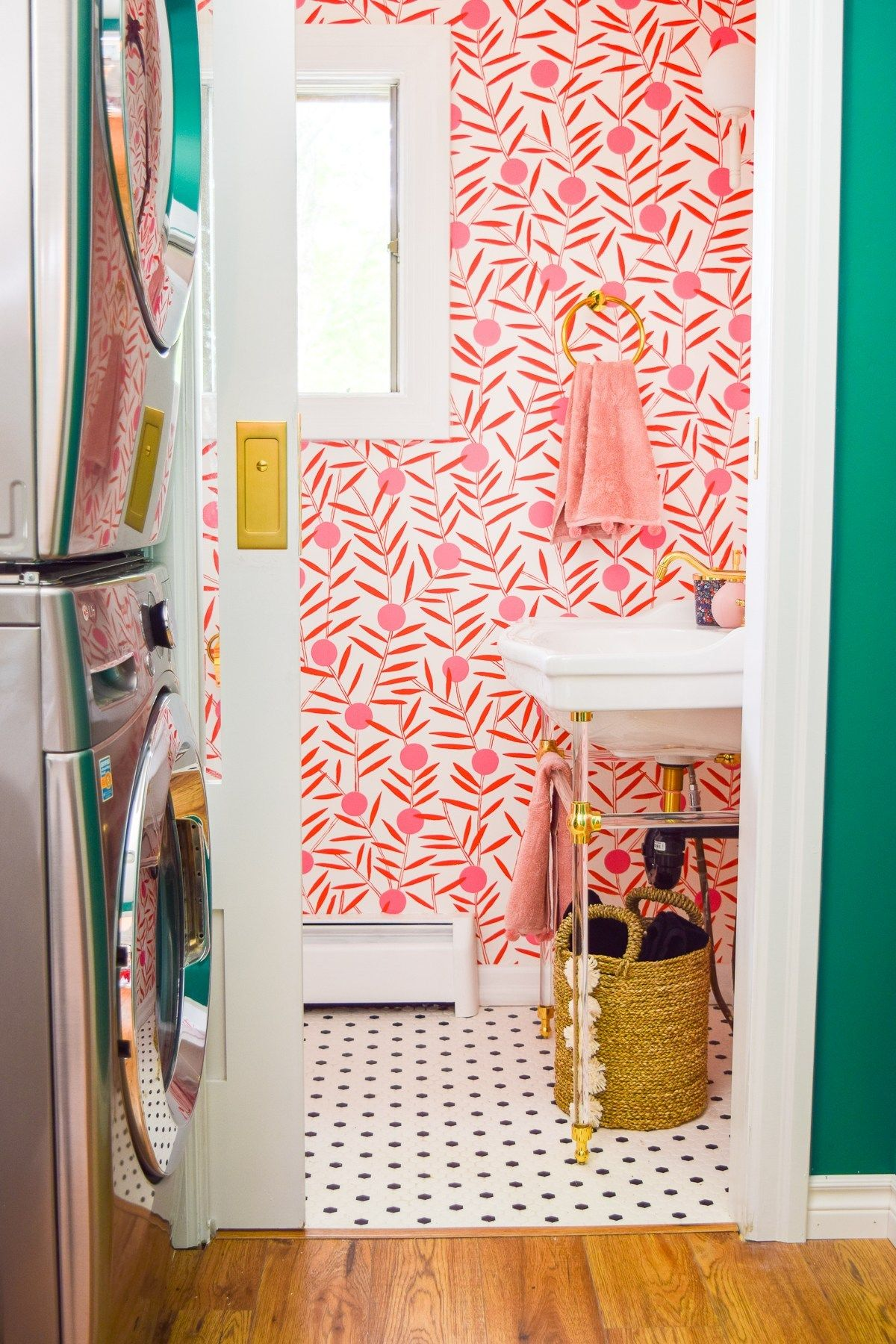 Colorful Powder Room Before & After • PMQ for two #powderroomdesign