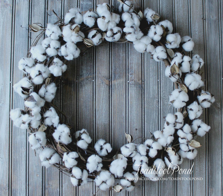 Farmhouse Wreath Cotton Boll Wreath Winter Wreath Cotton Stem Wreath Magnolia Inspired Wreath Fixe Cotton Boll Wreath Cotton Wreath Cotton Branches