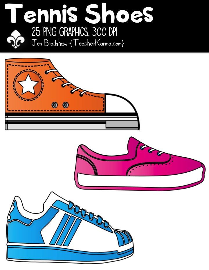 Tennis Shoes Clipart These 25 Brightly Colored Tennis Shoes Are Just Perfect For Adding To Your Classroom Materials An Shoes Clipart Tennis Shoes Shoes