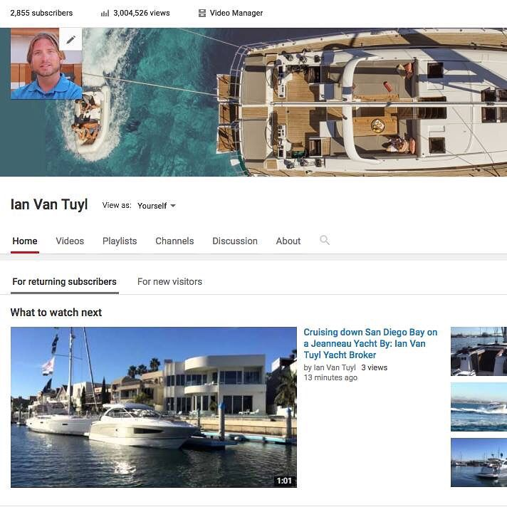Just broke 3 Million views on my You Tube channel today. I want to thank you all for your support and watching my video's. I will continue improving on my video skills and most of all hope that you find them helpful and informative. Thank you all again for your loyalty and support and as i always say if you are looking to buy or sell a #Yacht please feel free to call me at any time day or night. Best, Ian Van Tuyl #Jeanneau #JeanneauYachts #Sailboat #Powerboat #Yacht #MotorYa
