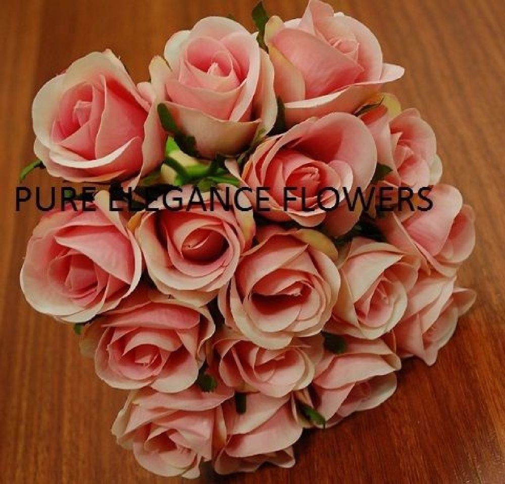 1x Silk Baby Pink Roses Rose Posy Wedding Flower Bouquet Fake