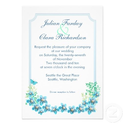 beautiful white wedding invitation with blooming blue flowers and butterfly. Victorian style wedding invite. I suggest a Linen paper for this design. If you need more additional products (like rsvp, reception, letterheads, wedding stickers etc), please contact me. If you like my style, please go to my store and see a lot of unique designs.
