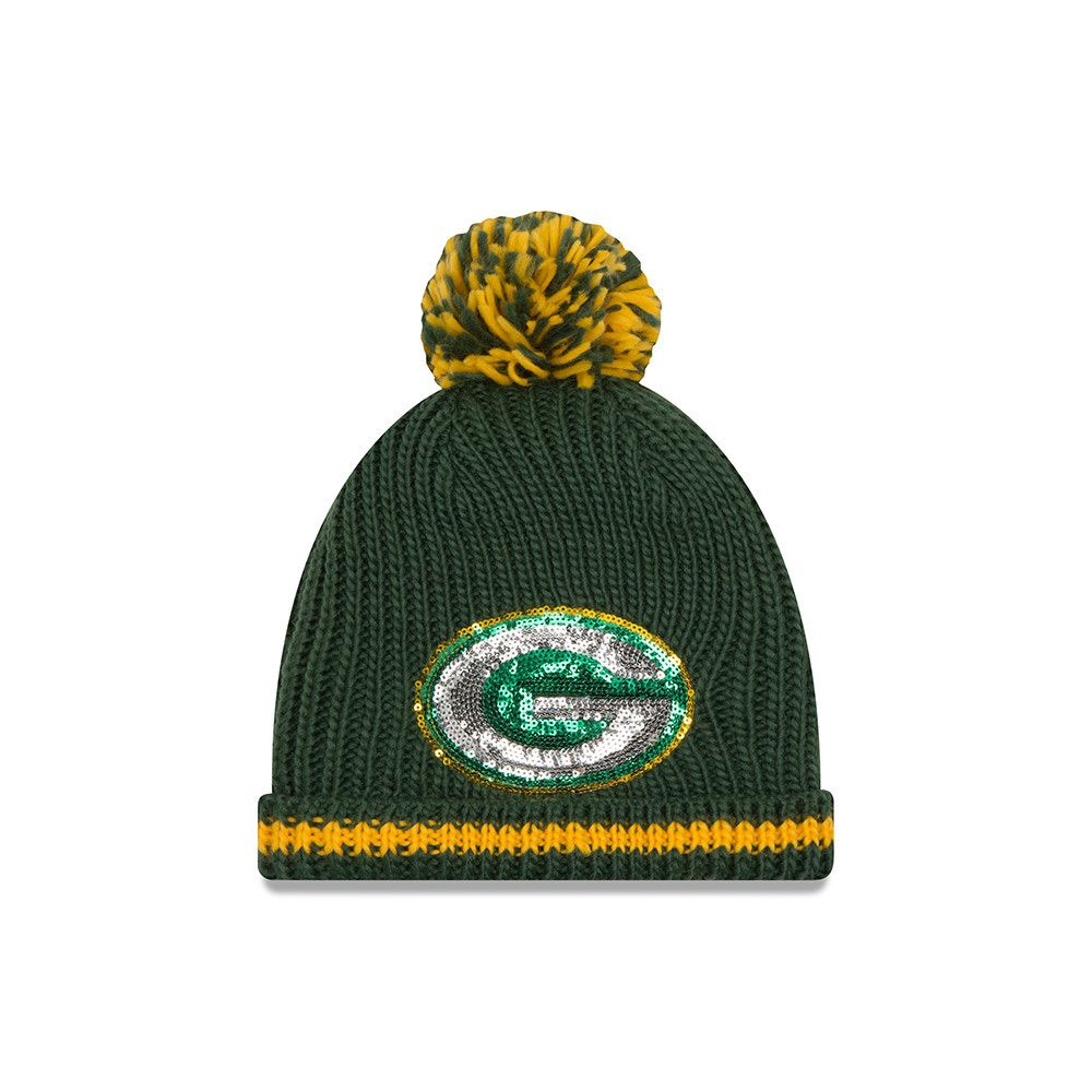 Green Bay Packers 2016 Sequin Frost Women S Knit Hat Knitted Hats Hats Knitting