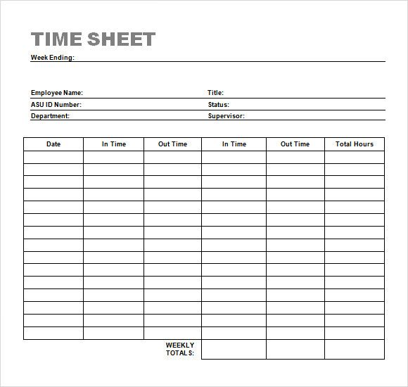 Time Sheet Template Timesheet Template Time Sheet Printable