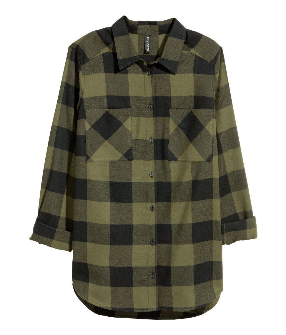 Clothes Mujer De amp;m Verde Franela Oscuro Mx Camisa Blusas H w48vpqq