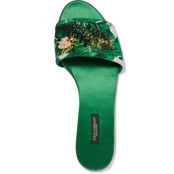 aeb5e9942 Dolce   Gabbana Swarovski crystal-embellished printed satin slides (£575) ❤  liked on Polyvore featuring shoes