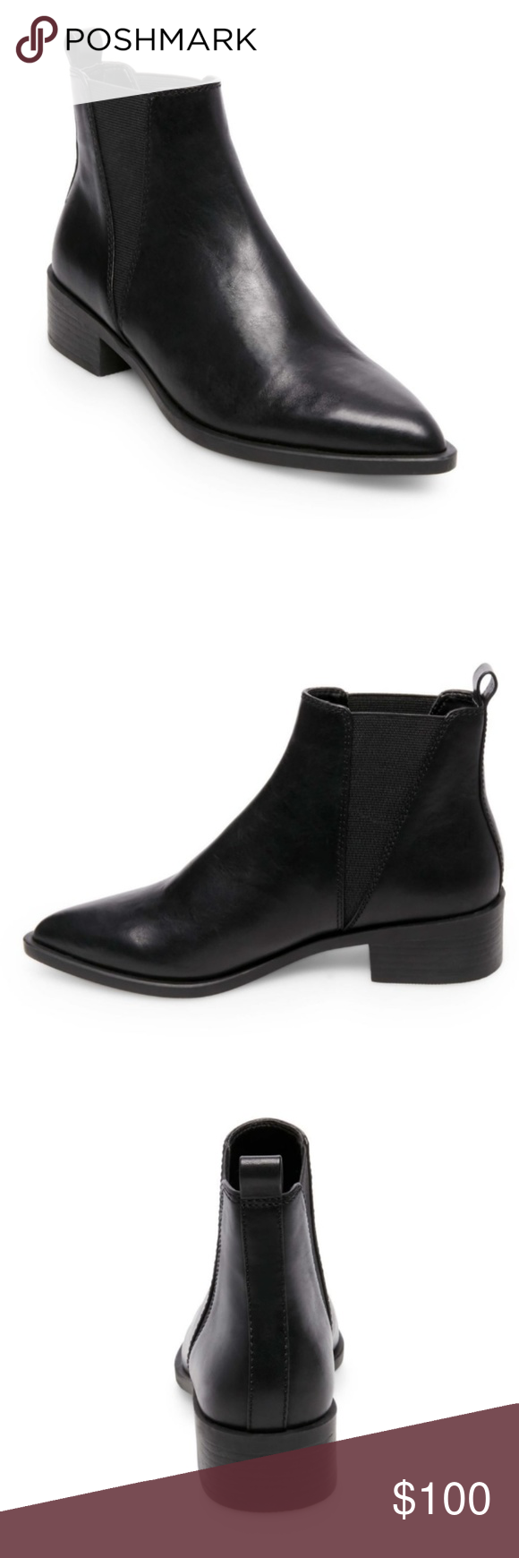 42f8e38ad66c NEW Steve Madden Jerry Black Leather Booties Ships quickly without box!  Brand new / tried