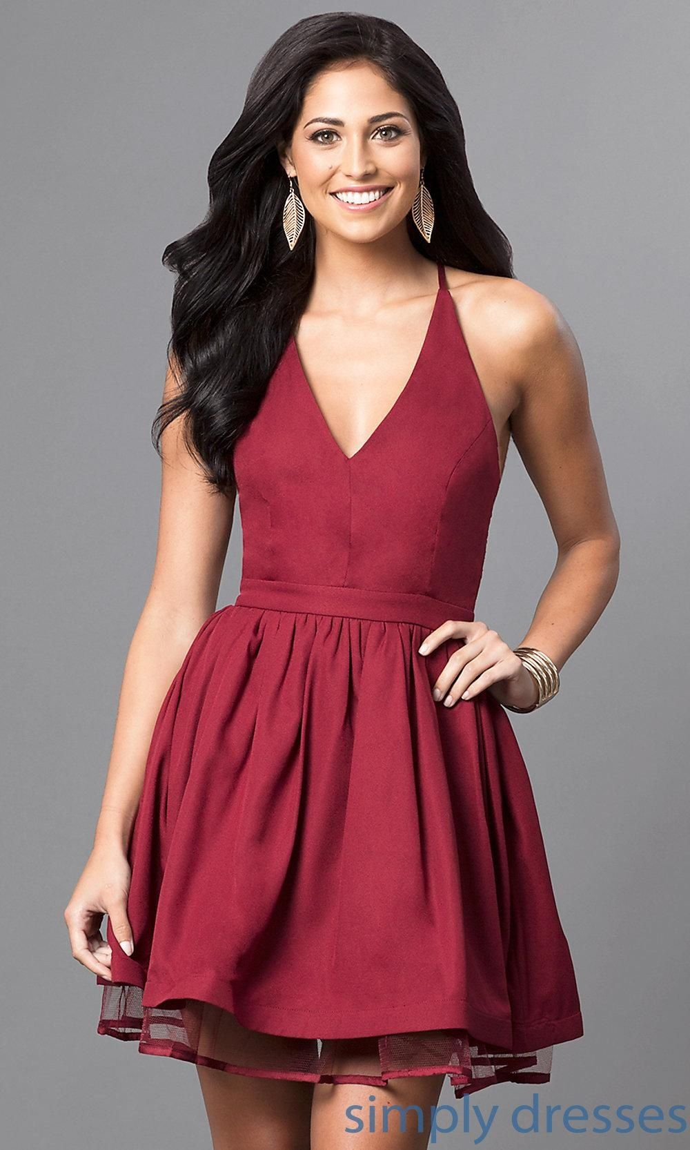 Red V-Neck Short Dresses