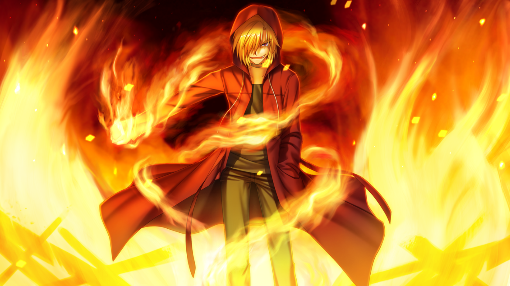 Anime boy hands on fire google search