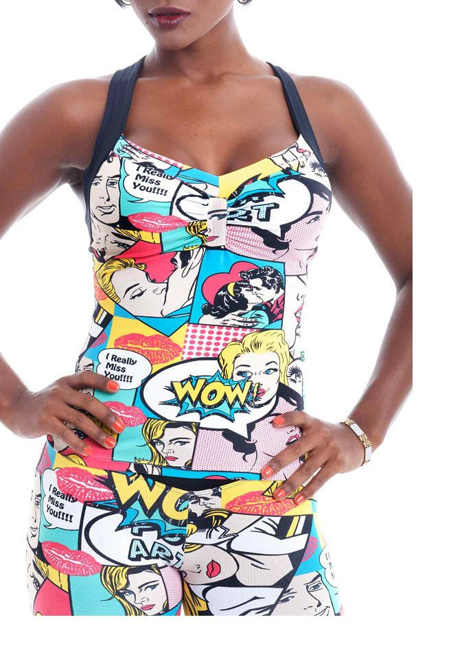 Who would  have thought cartoons for activewear.  Innovative designs from Brazil.  Visit website to see the short crop top as well: http:..www.bizeebodyz.com.au