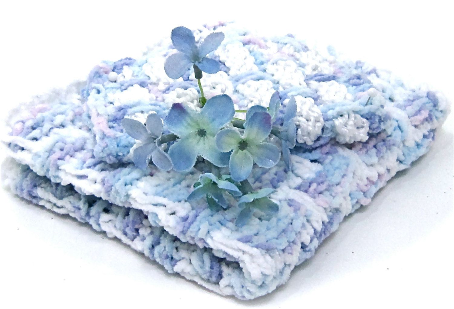 spa cotton chenille \'velvet\' washcloth set, lavender blue knit bath ...