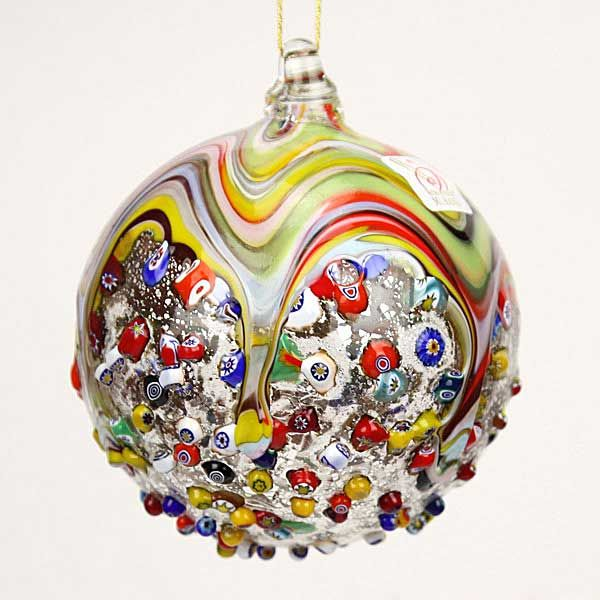 Venetian Mosaic Murano Glass Christmas Ornament Available from