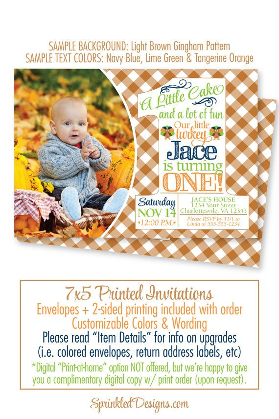 Our Little Turkey First Birthday Invitations Baby Boy Girl ...