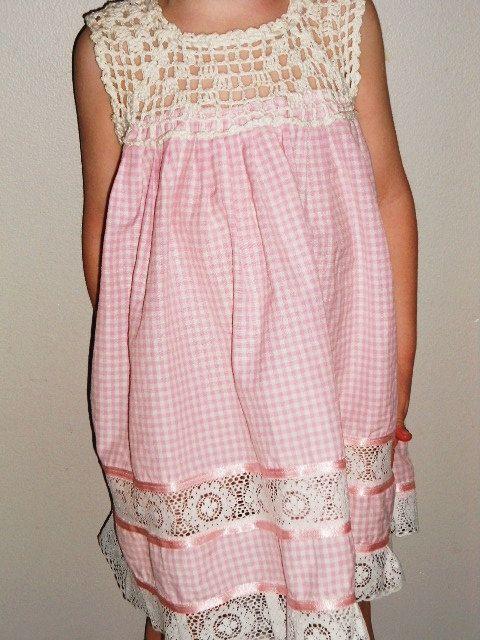 Vintage childrens boho crochet peasant babydoll by BabyandtheBeach, $8.00