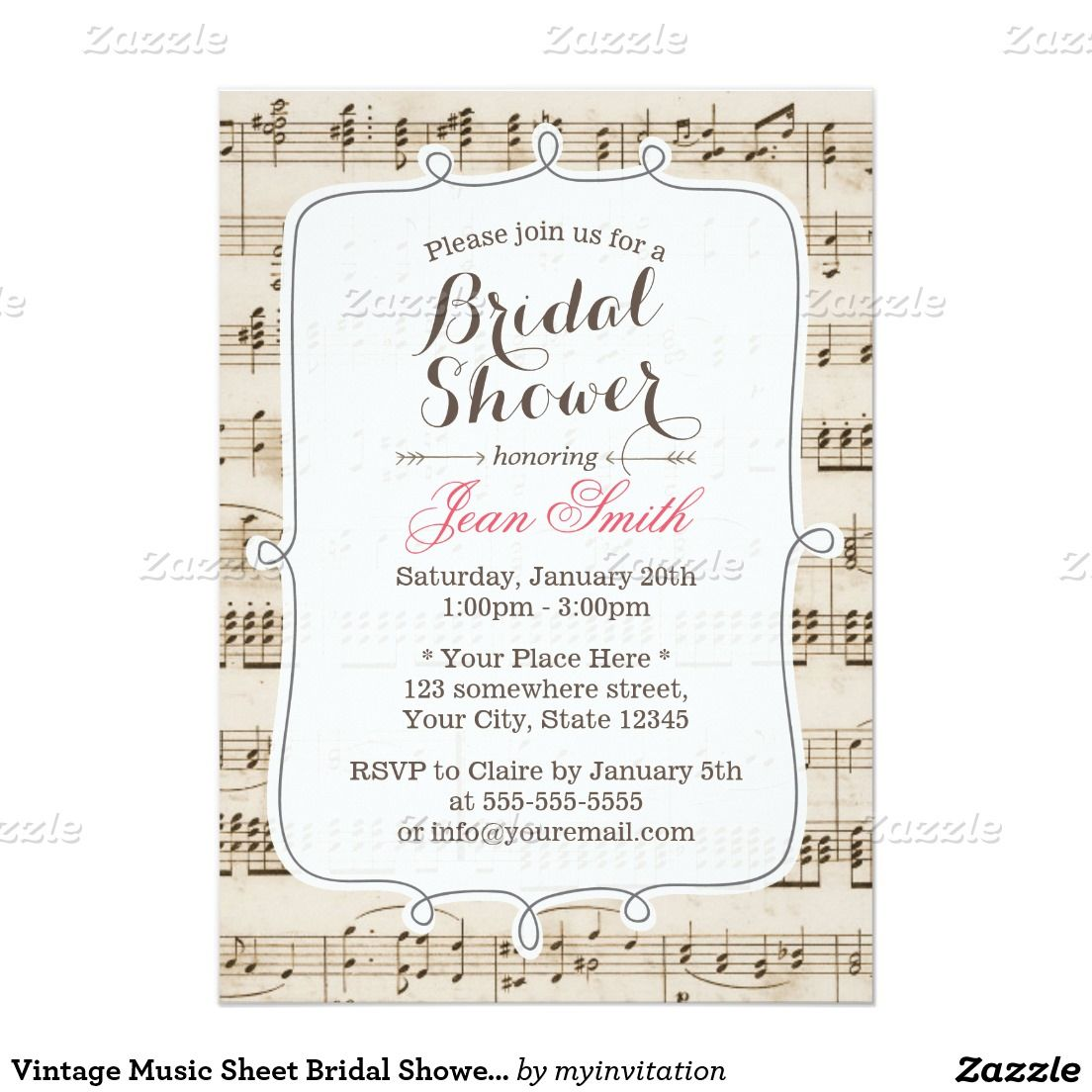 vintage music sheet bridal shower invitations 5 x 7 invitation card