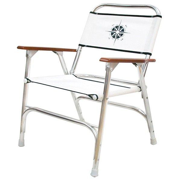 White Folding Deck Chair W Compass Logo Deck Chairs